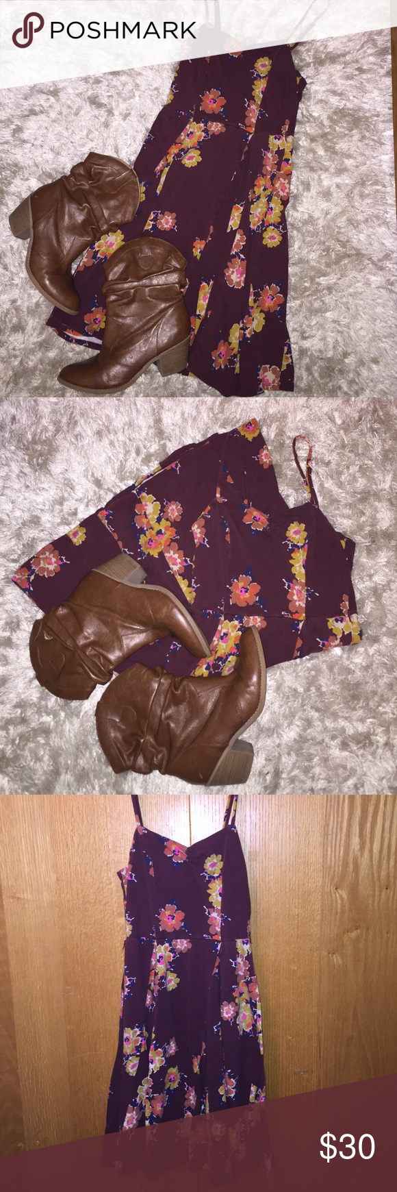 Flowered Sun Dress & Cowboy Boots Bundle Lightly worn. Can be bought separately if requested. Boots: size 9 Mossimo Supply Co Dresses Midi