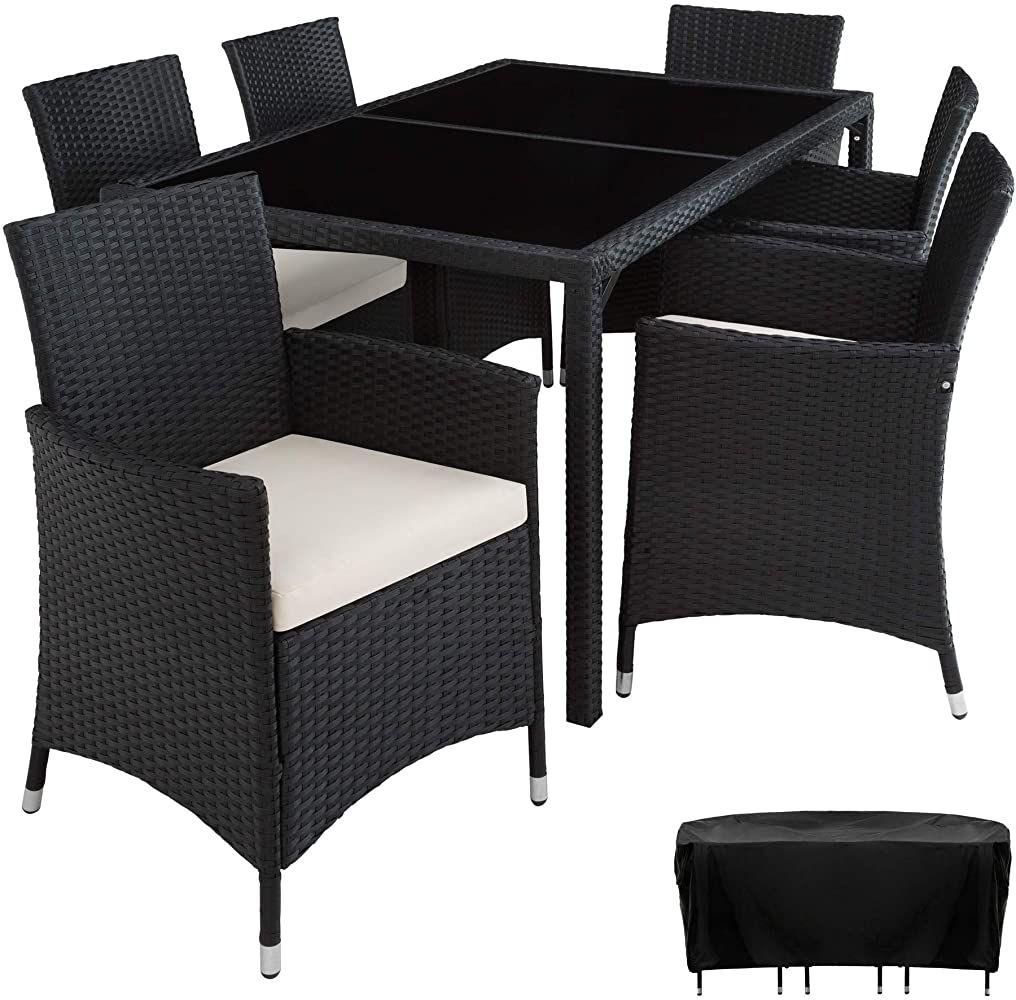 Tectake 800325 Poly Rattan Sitzgruppe 6 Stuhle Mit Sitzkissen 1