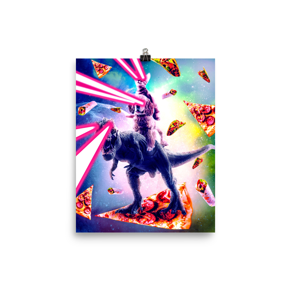 Random Galaxy Poster Dinosaur Posters Cat Riding Unicorn Poster