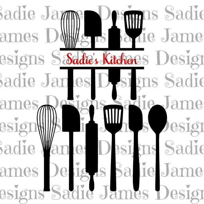 kitchen utensils split silhouette. Contemporary Split Kitchen Utensils  Split SVG And Silhouette Studio Cutting File Instant  Download Throughout R