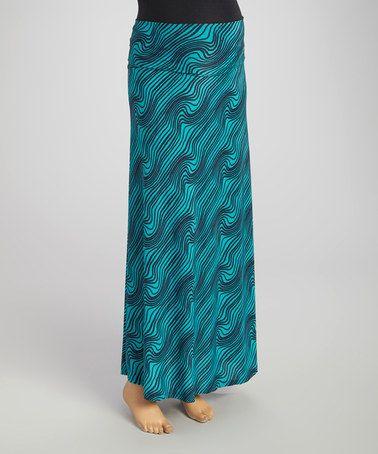 Teal & Navy Print Maternity Maxi Skirt #zulily #zulilyfinds