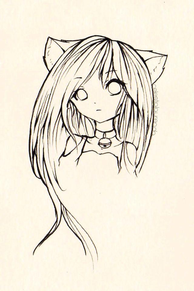 Anime cat girl drawing