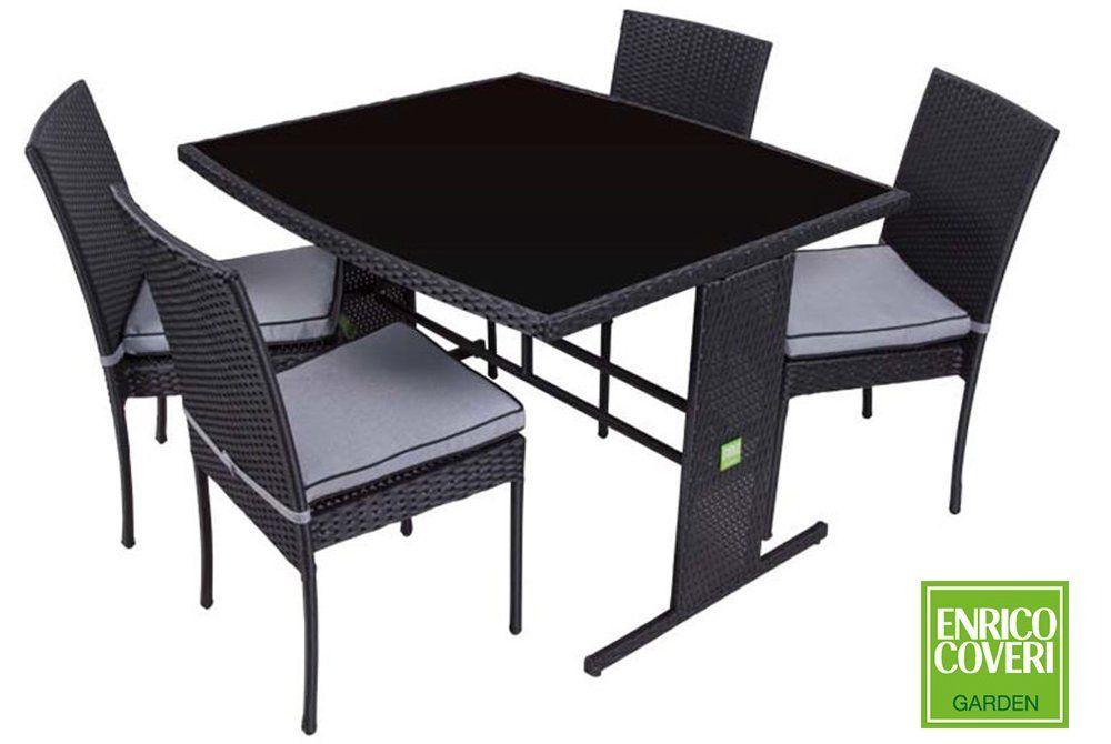 Tavolo polyrattan ~ Set tavolo sedie nero poly rattan enrico coveri arredo