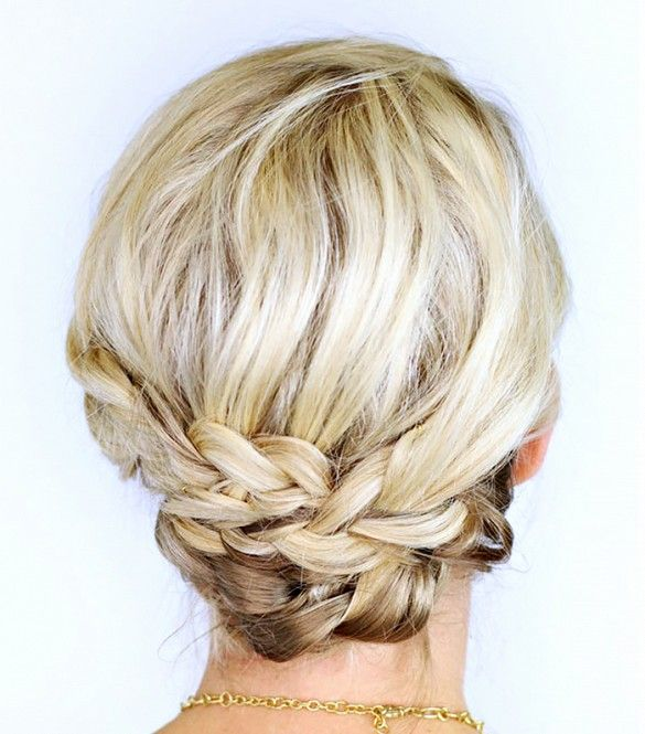 Simple and chic, this braided updo is perfect for the office, brunch, or an elegant occasion.