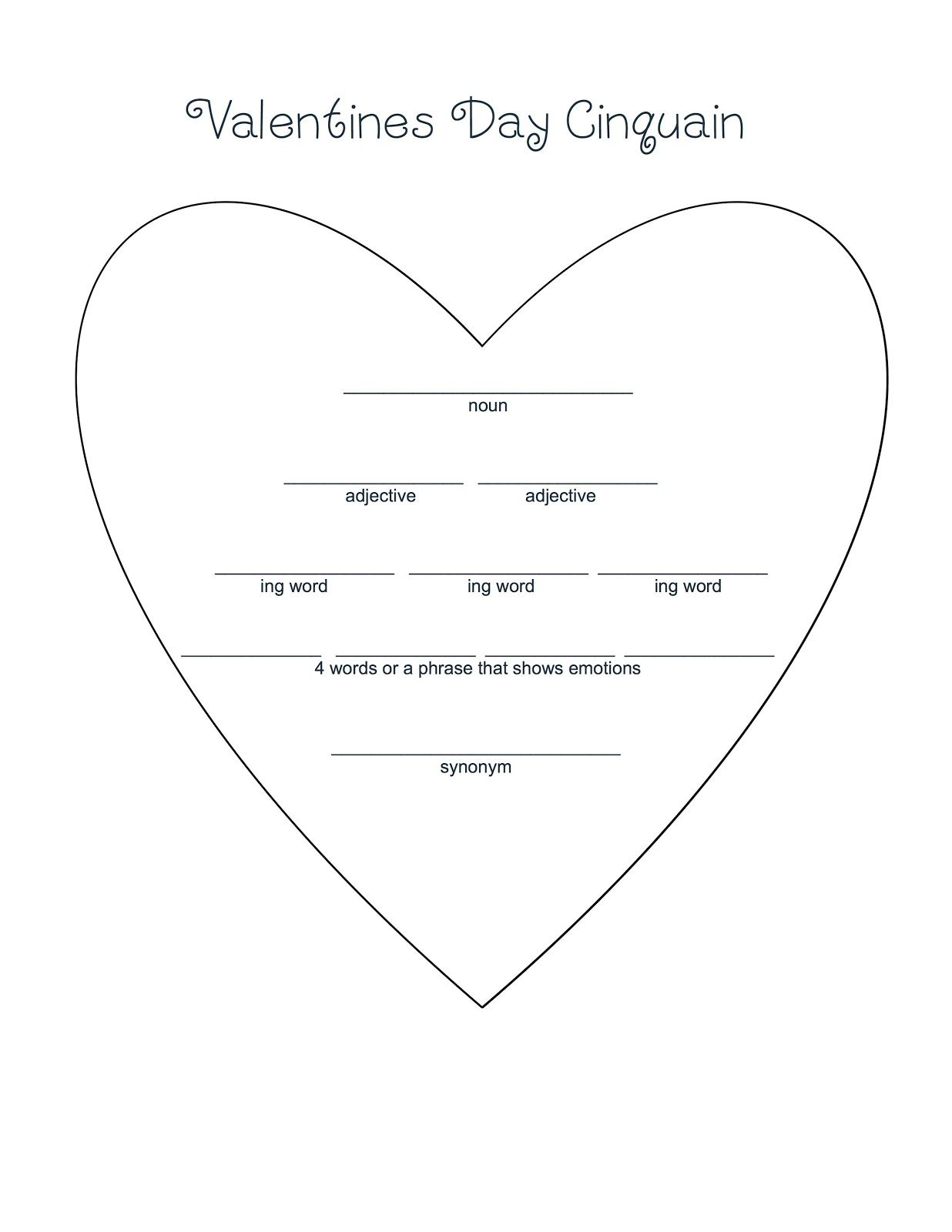 medium resolution of This is a cute Cinquain poem that makes a great bulletin board piece and is  good practice for ed…   Valentines writing