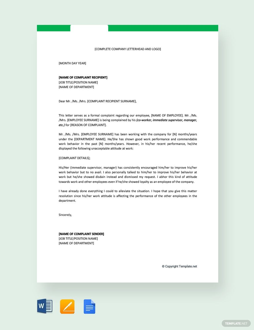 Free Complaint Letter Against Employee Introduction Letter