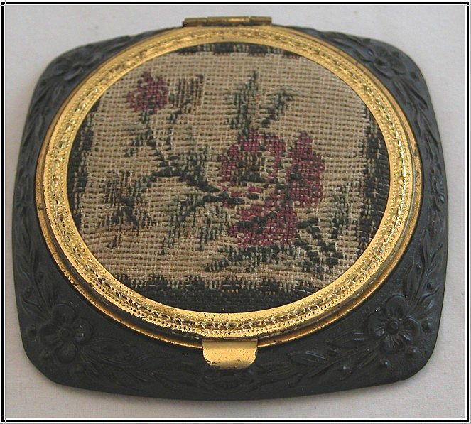 Floral Petit Point And Deeply Carved Black Plastic Compact