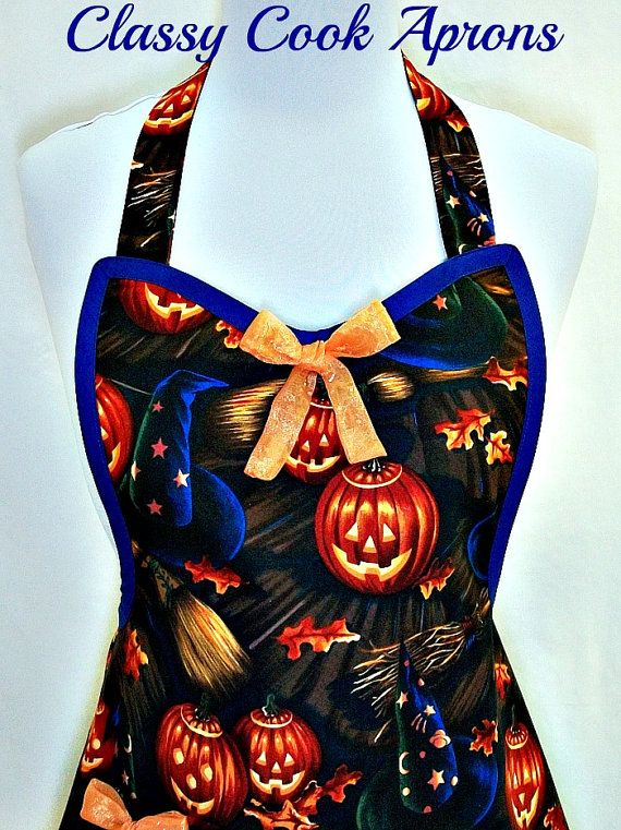 Apron Halloween Pumpkins & Witches Hats, Broomsticks, Alex Henry, Trick or Treat, Fun Hostess Party