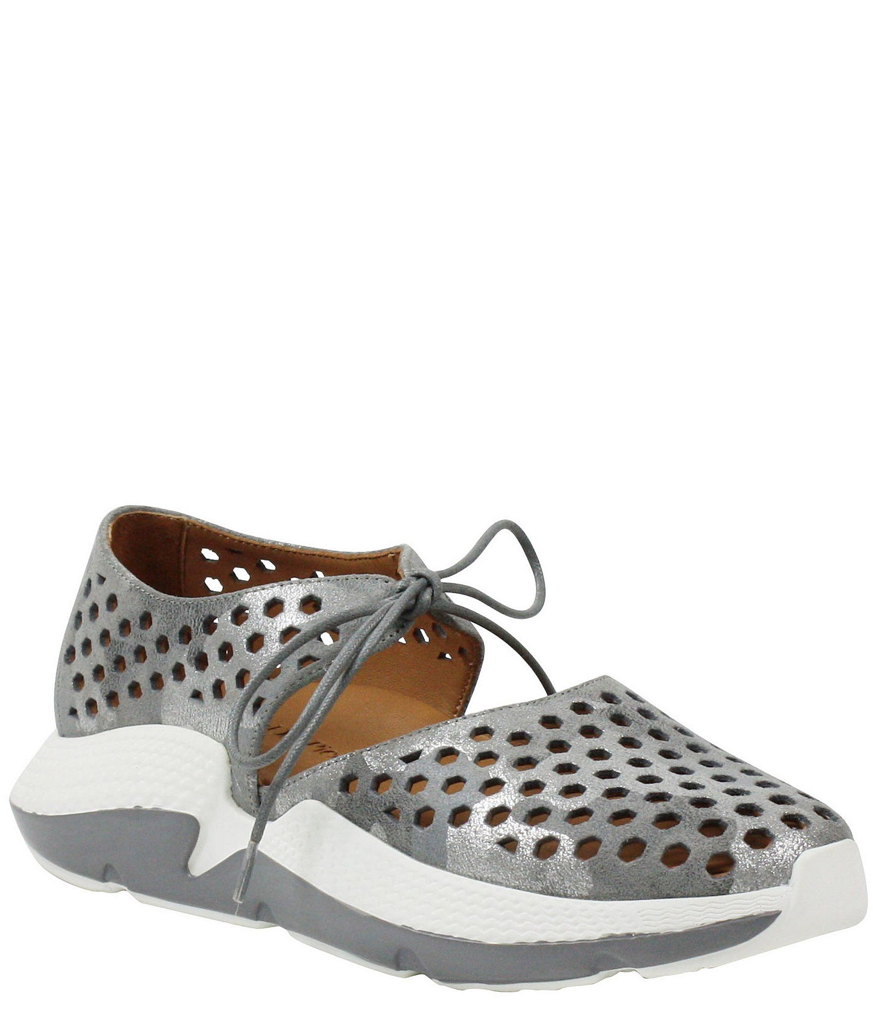 L'amour Des Pieds Himar Perforated Metallic Leather Sneaker - 8.5M