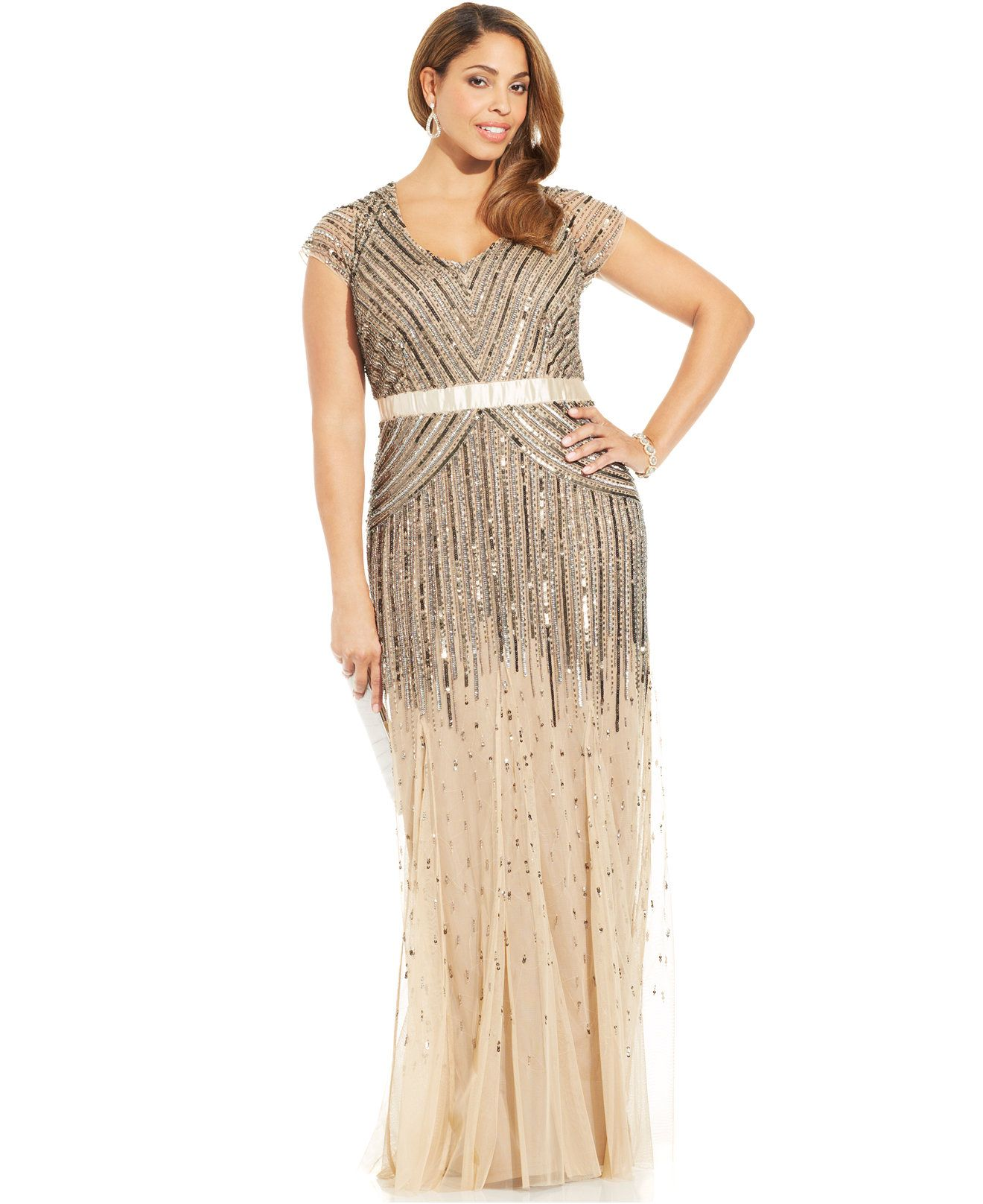 Adrianna Papell Plus Size Cap-Sleeve Beaded Sequined Gown - Dresses ...