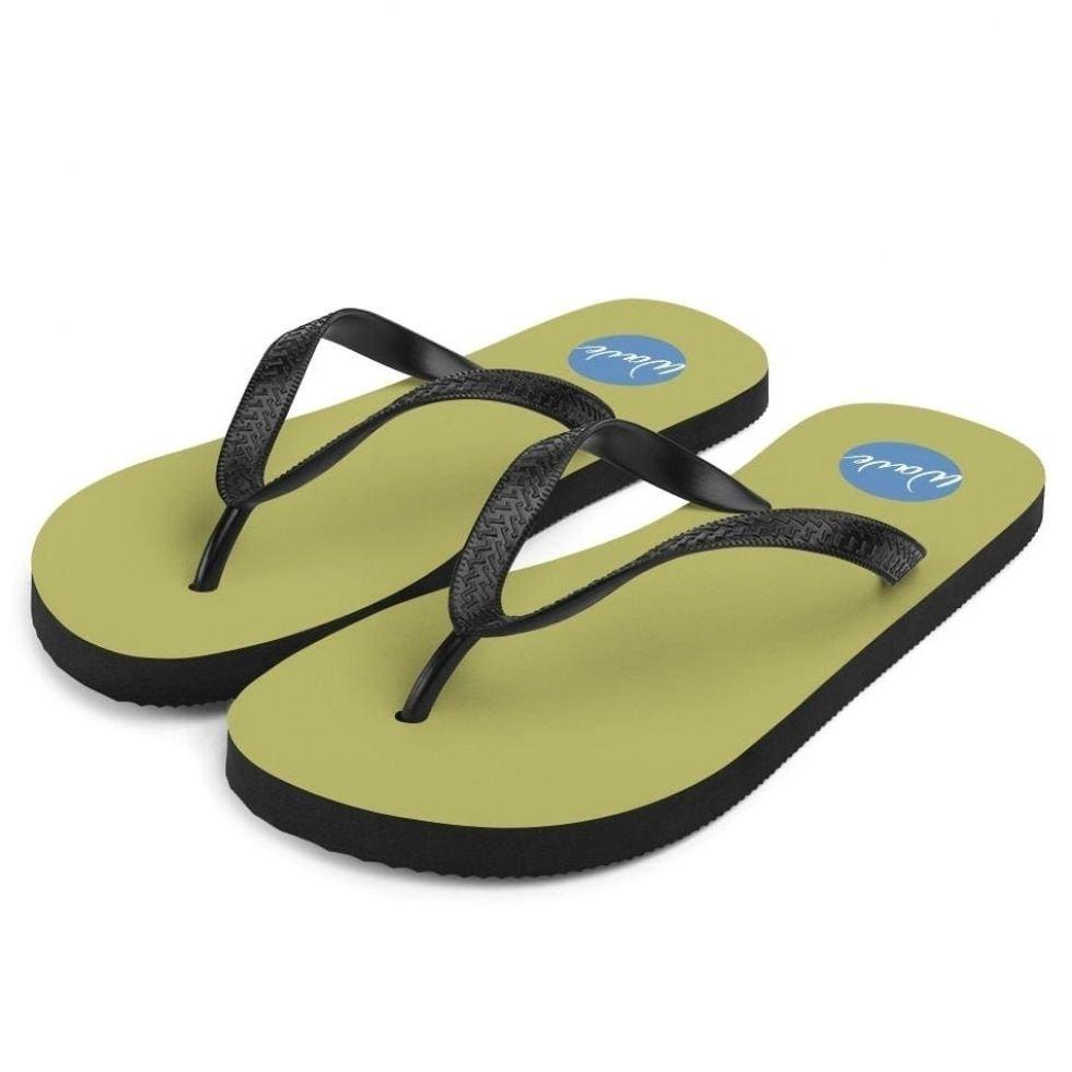 Olive Green Funky Flip Flops - S