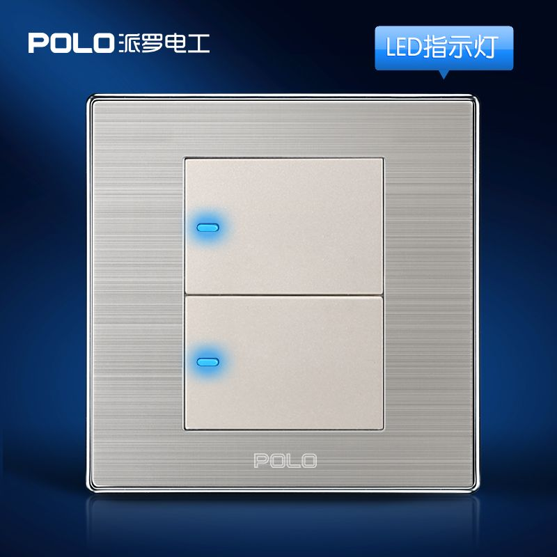 Wholesale Polo Luxury Wall Switch Panel  Light Switch 2 Gang 2 Way Champagne  Black Push Button
