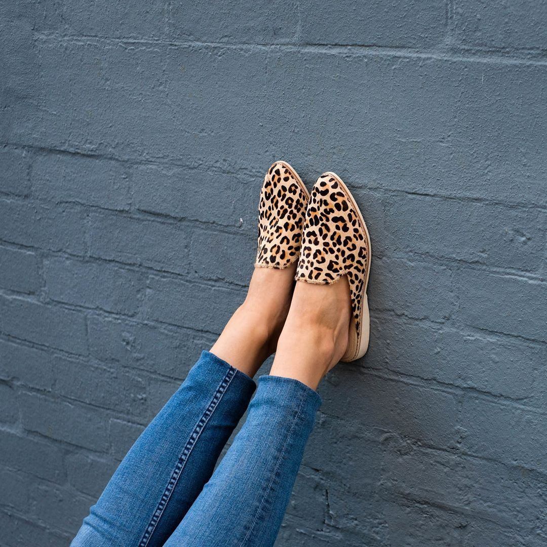 8008d547e7dc Rollie Madison Mule in Camel Leopard Pony. Ultra-light and comfortable  slip-on animal print flat shoes.