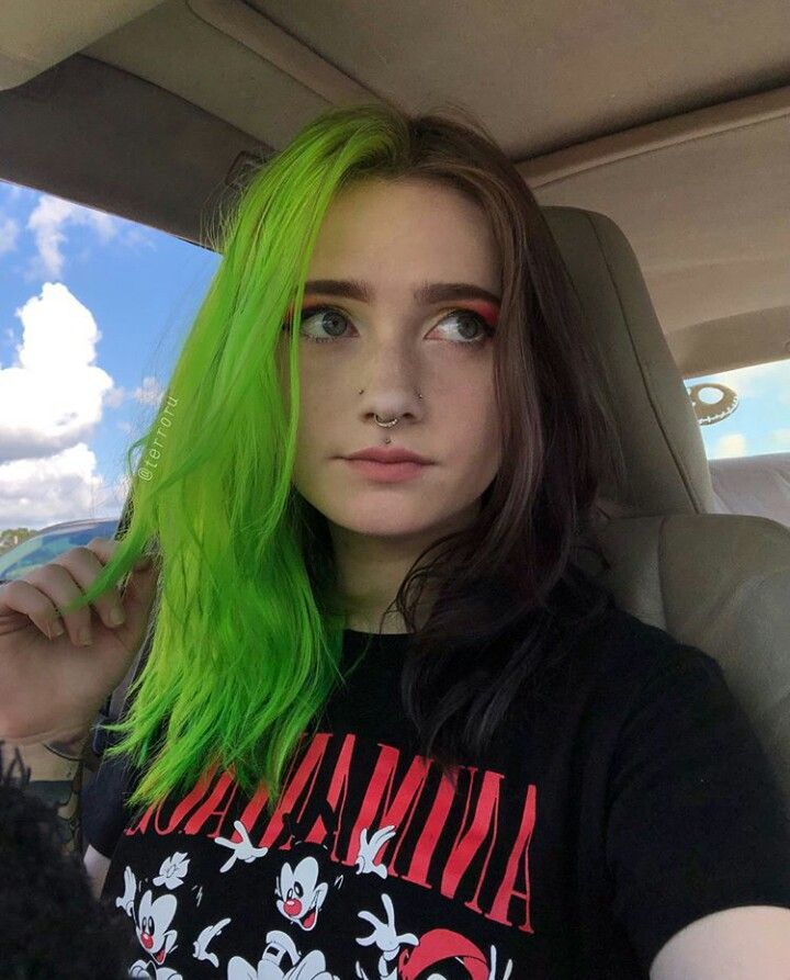 Perfect Green Black Hair Color Combination For Short Hair In 2019 Hair Color For Black Hair Split Dyed Hair Half Colored Hair
