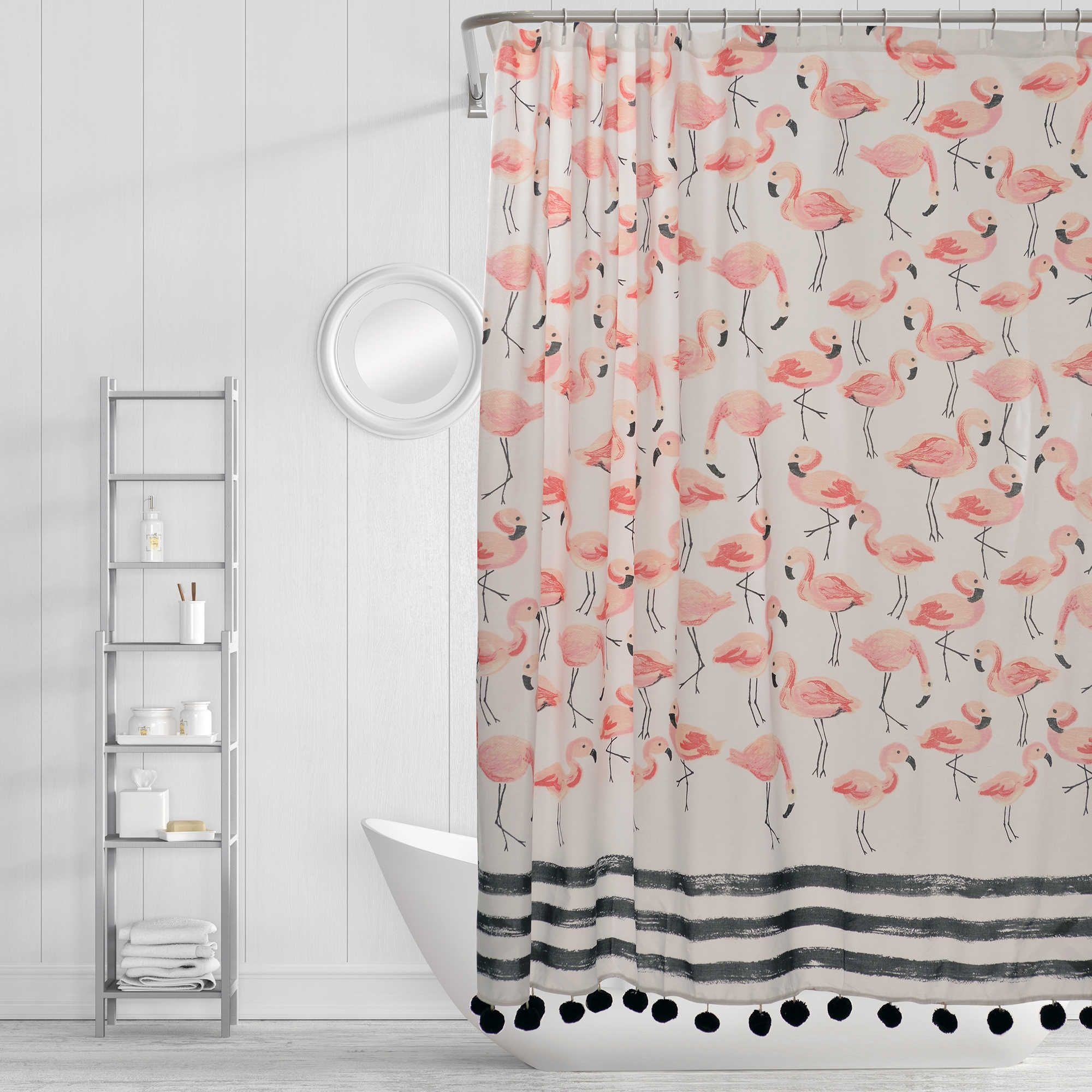 Simply Whimsical Flamingo Party Shower Curtain In Pink Flamingo