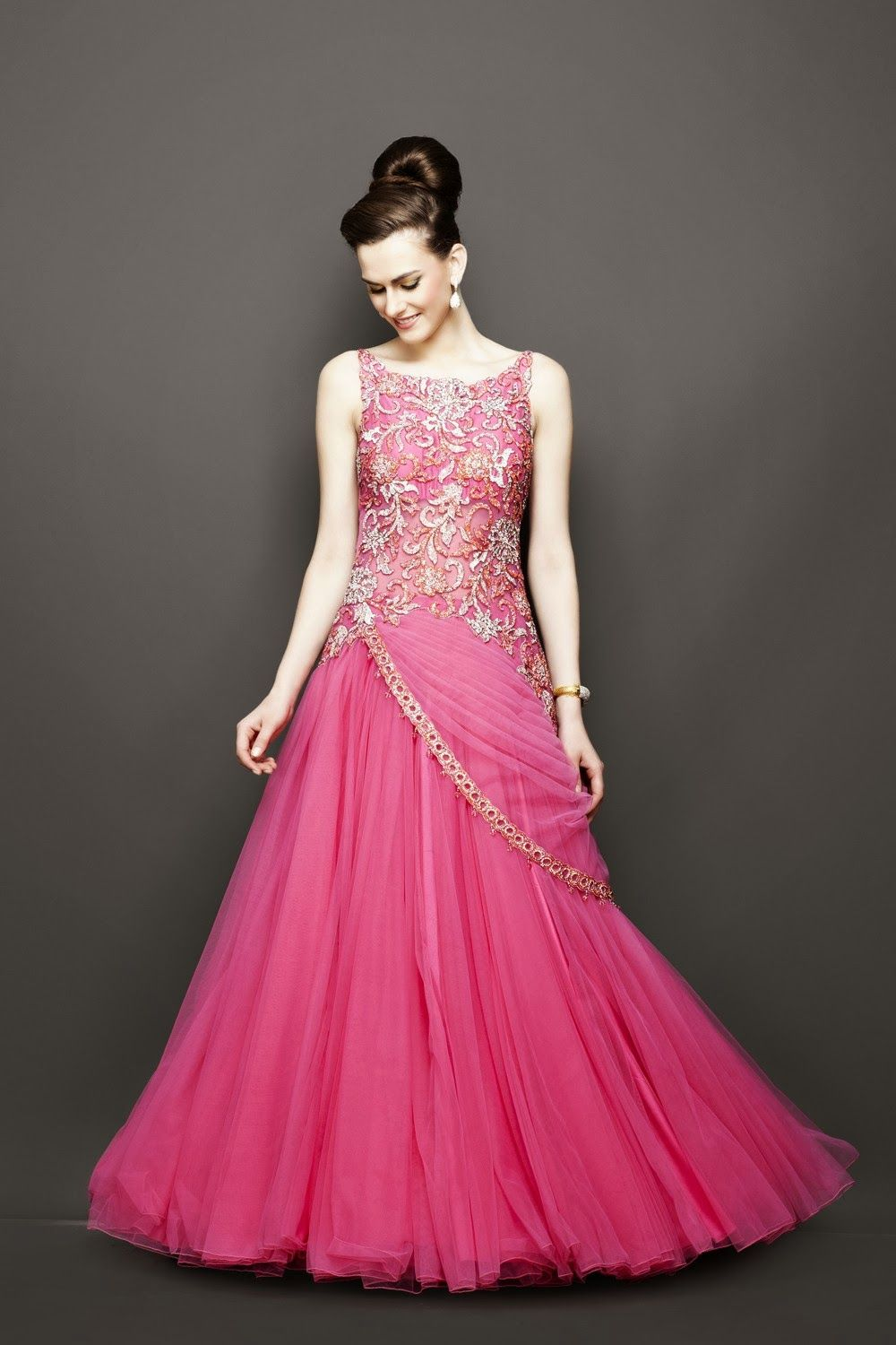 evening dress for wedding in pink color dresses