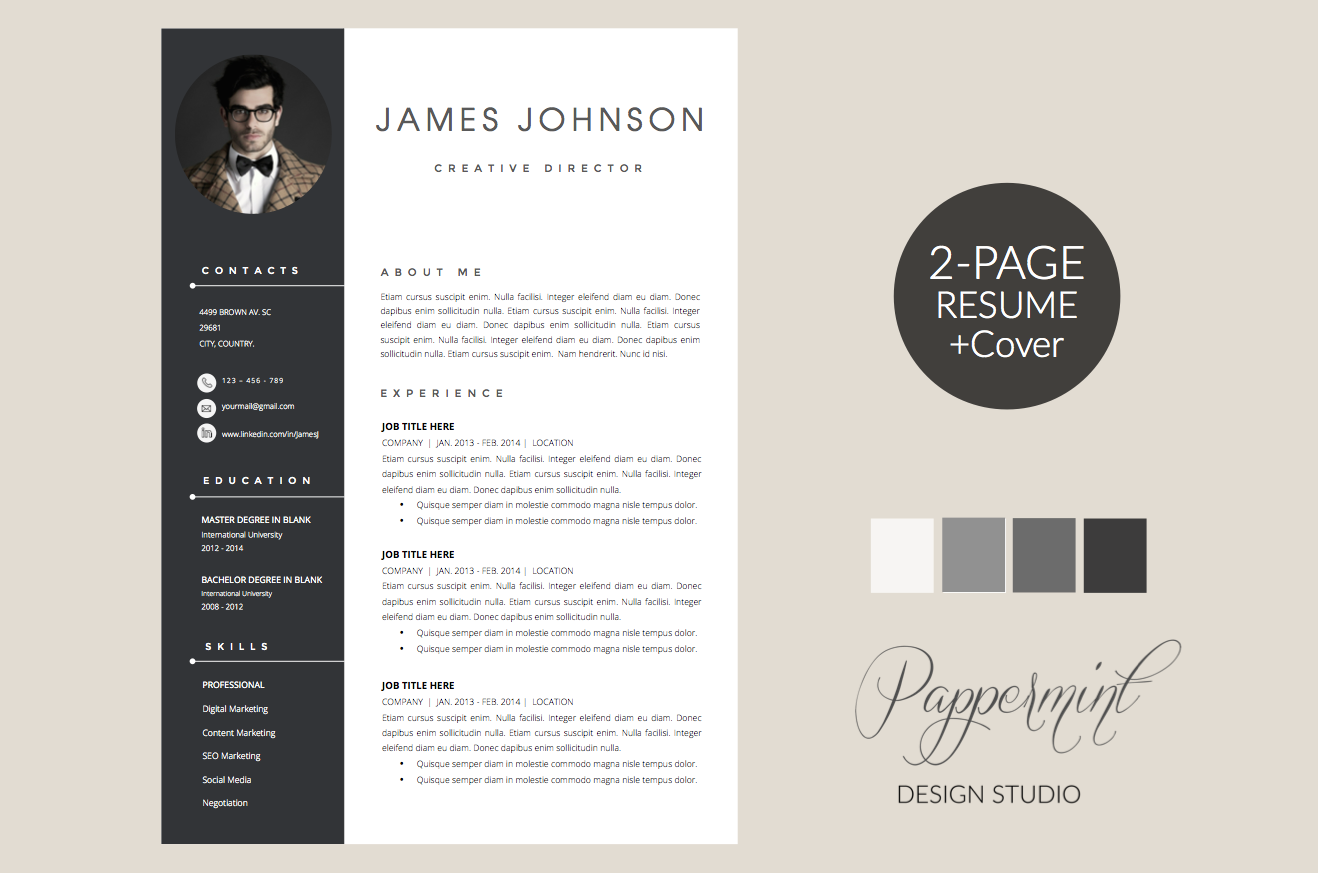 Resume Template Cover Letter Word By Pappermint