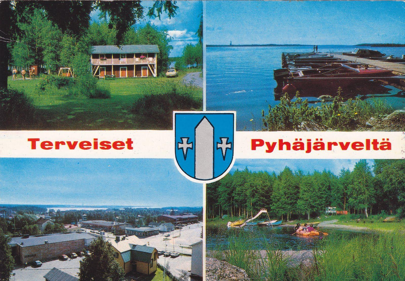 Kuva: PYHÄJÄRVI 1994. Marjoniemen lomakylä,venesatama ja Pyhäsalmen keskusta.