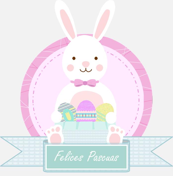 Conejo de pascua con cartel felices pascuas fondos for Manualidades pascua