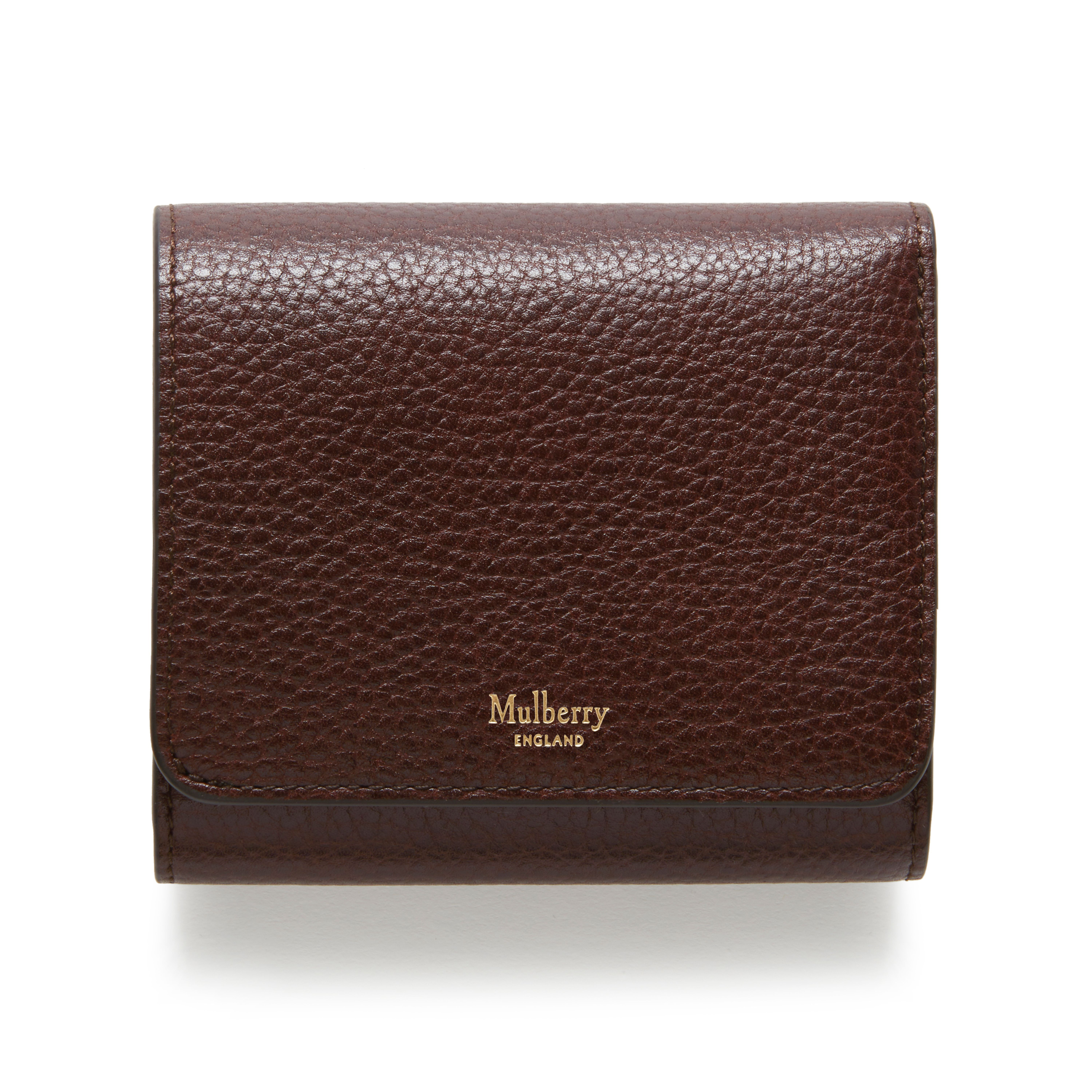 45807c7d13 Mulberry - Tri-fold Continental Wallet in Oxblood Natural Grain Leather