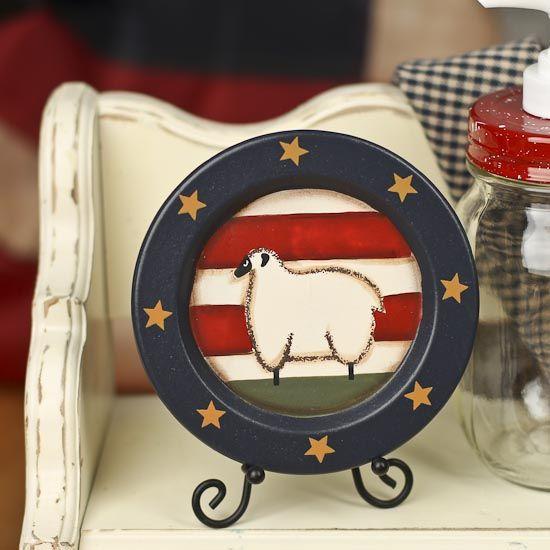 Primitive Americana Sheep Plate - Decorative Plates and Bowls - Primitive Decor & free images for primitive decor. | ... Americana Sheep Plate ...