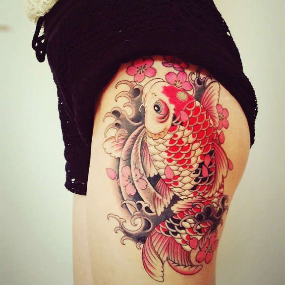 30 Koi Tattoo Design And Displacement Ideas Koi Tattoo Design Koi Tattoo Leg Tattoos