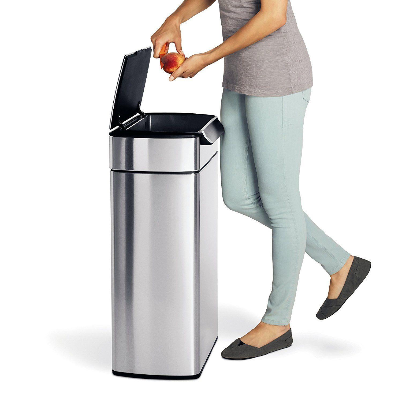 Amazon Com Simplehuman Rectangular Touch Bar Trash Can Stainless