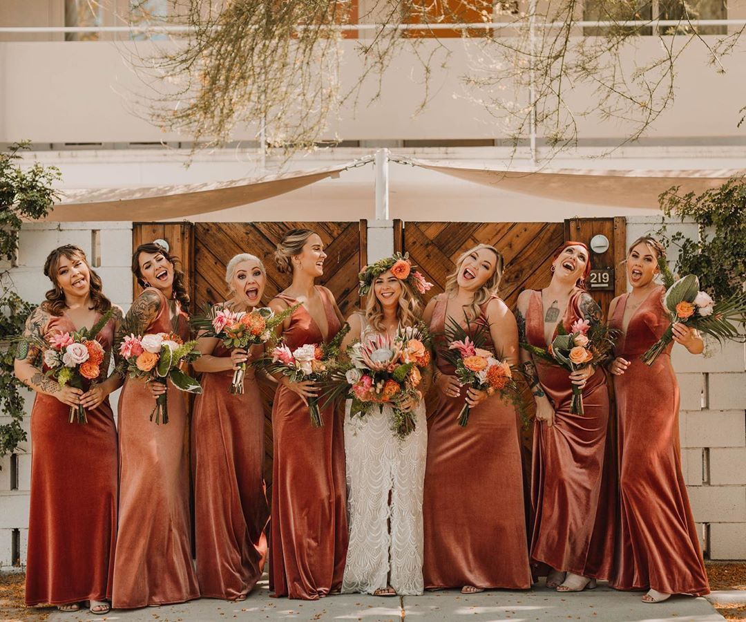 Terracotta Wedding And Event Ideas We Are Loving Terracotta Brings A Sophisticated In 2020 Velvet Bridesmaid Dresses Fall Bridesmaid Dresses Orange Bridesmaid Dresses