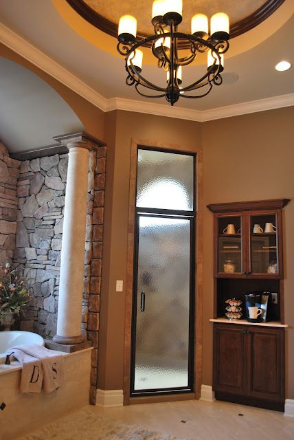 Master Bathroom With Steam Shower Jetted Tub Coffee Bar And