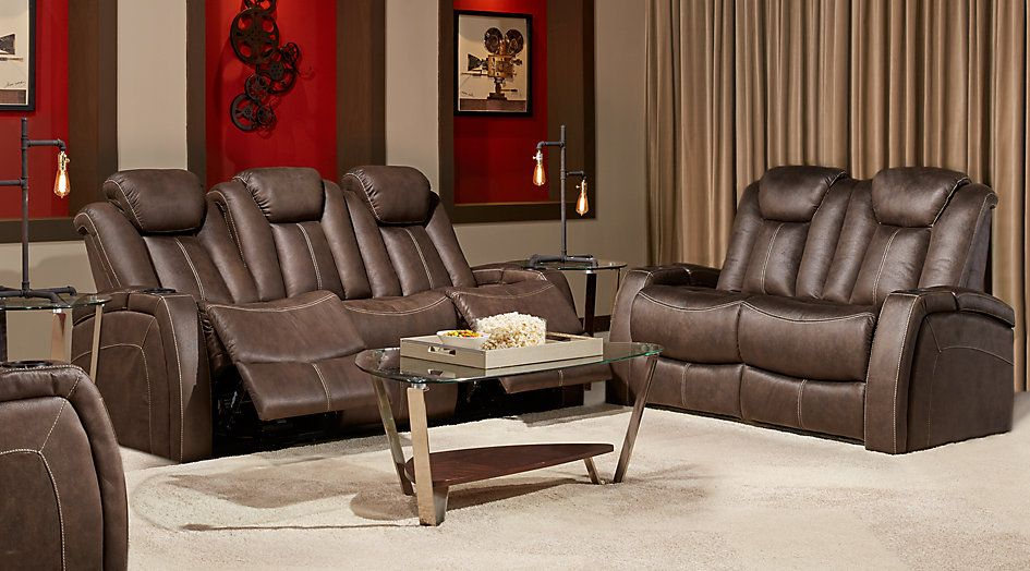 Crestline Chocolate 5 Pc Living Room With Power Plus Reclining