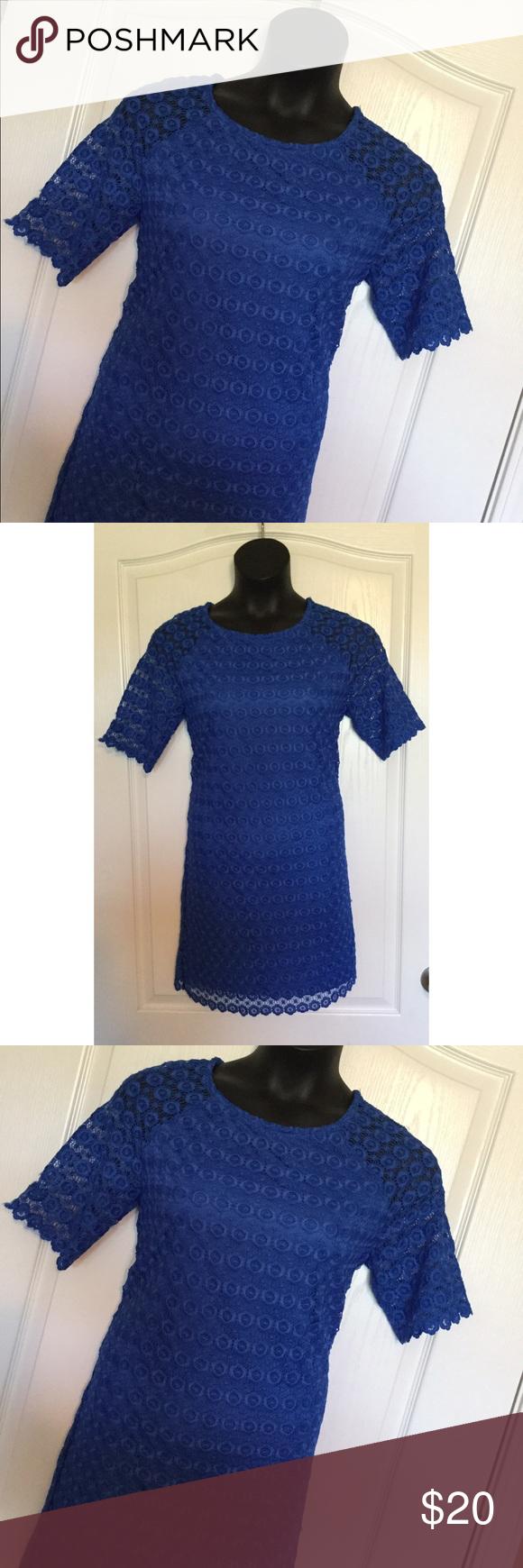 Cobolt blue embroidery shift dress. Floral  embroidery shift dress. Cato Dresses