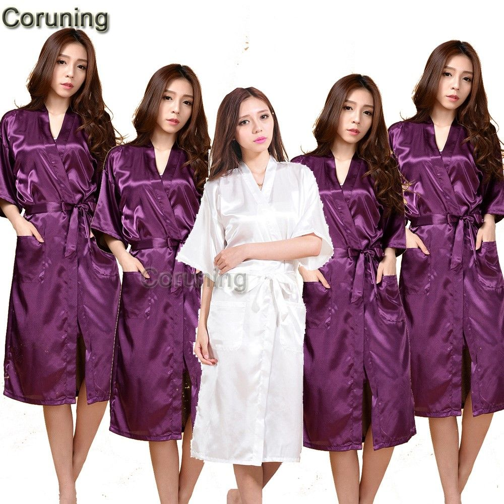 Las mujeres de Satén de Seda Robe pijamas Noche Solid Kimono Bata ...