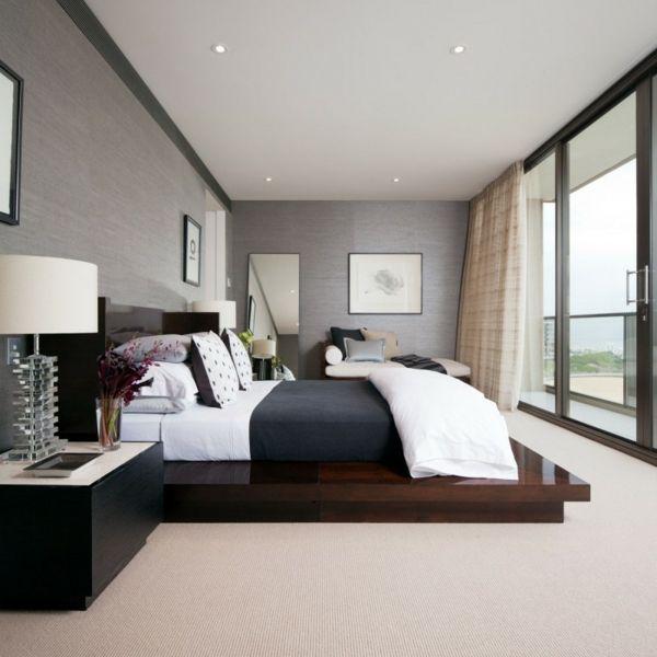 Schlafzimmer-graues Farbschema Doppelbett | interior | bedroom ...