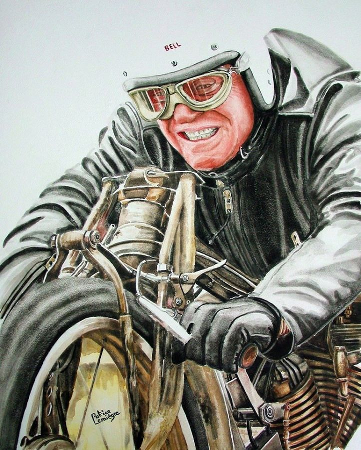 A rendering of Burt Munro,,,Worlds Fastest Indian