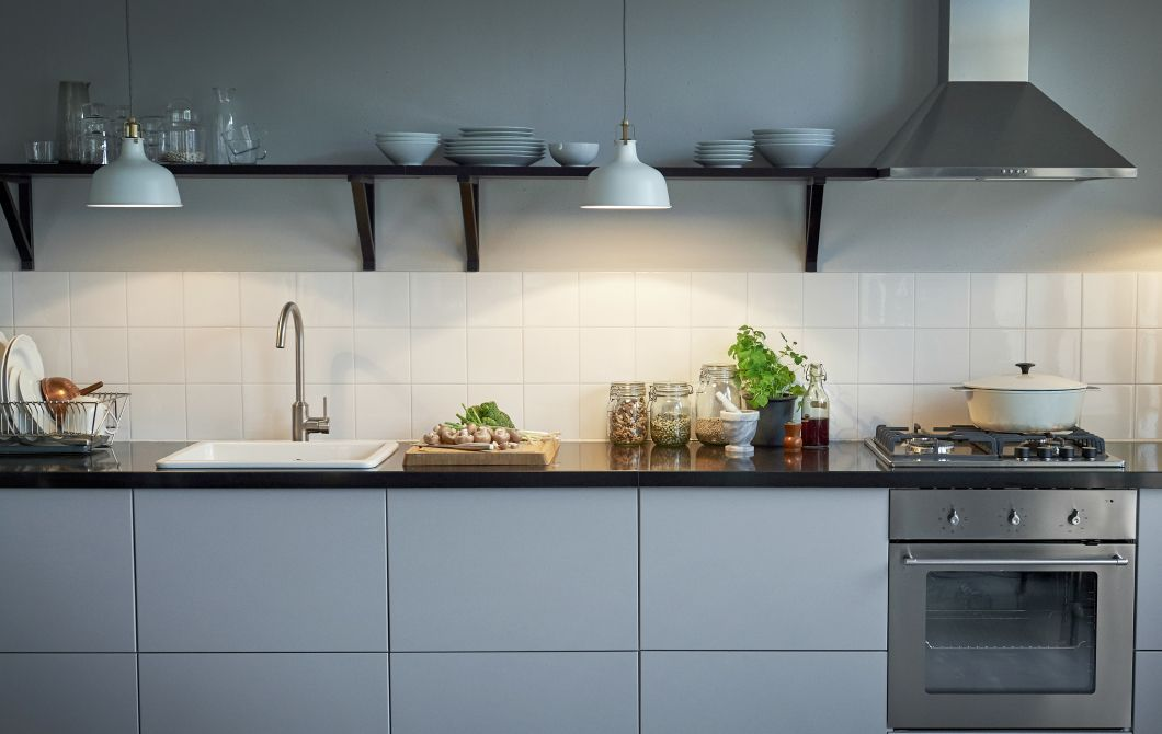 Use Hanging Pendant Lamps To Replace Under Cabinet Lighting When You Have Open Shelves Ikea Kitchen