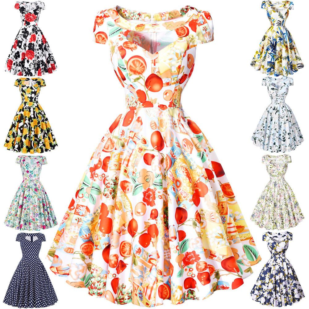 S retro vintage style floral evening party prom swing pinup