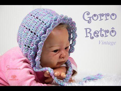 Gorro Retro vintage de Crochê para Bebê  0be48f6e0c6