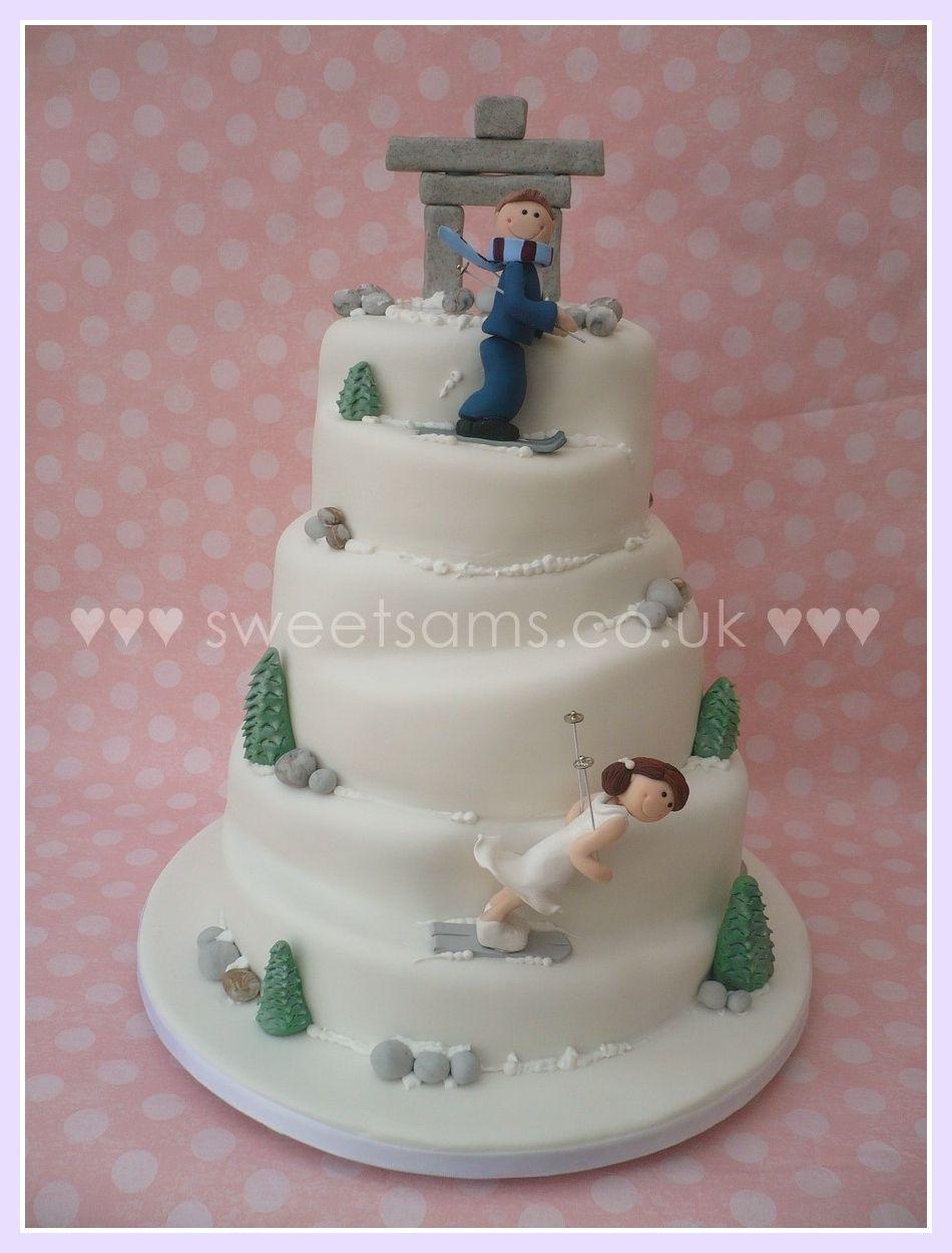 Skiing Winter Snow Wedding Cake