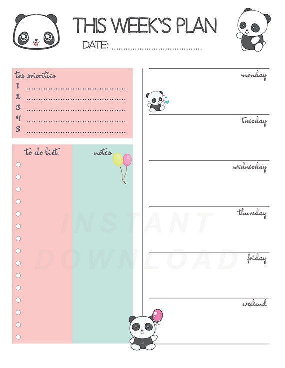 Panda Weekly Planner Printable Weekly Planner Cute Weekly
