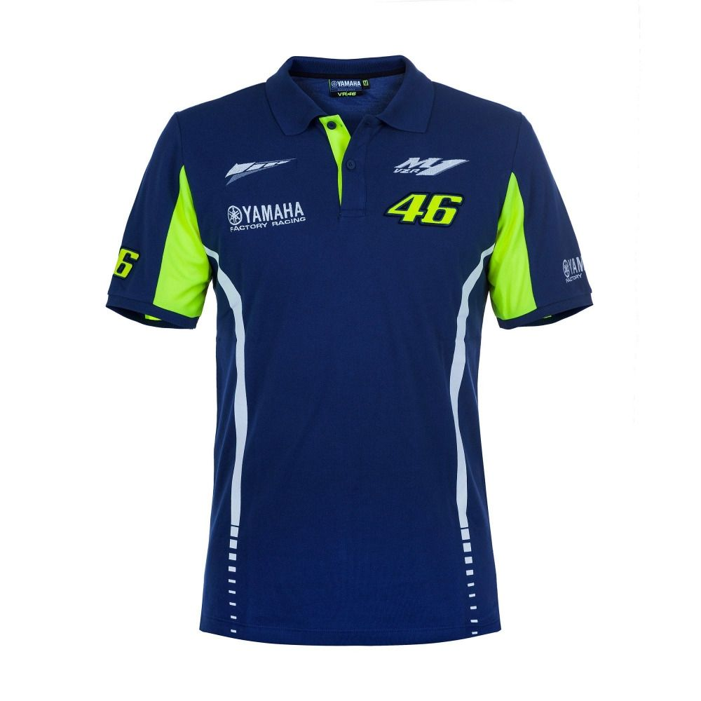 100% Cotton Luna Rossi VR46 M1 Racing Team Dual Moto GP Polo Shirt for  Yamaha