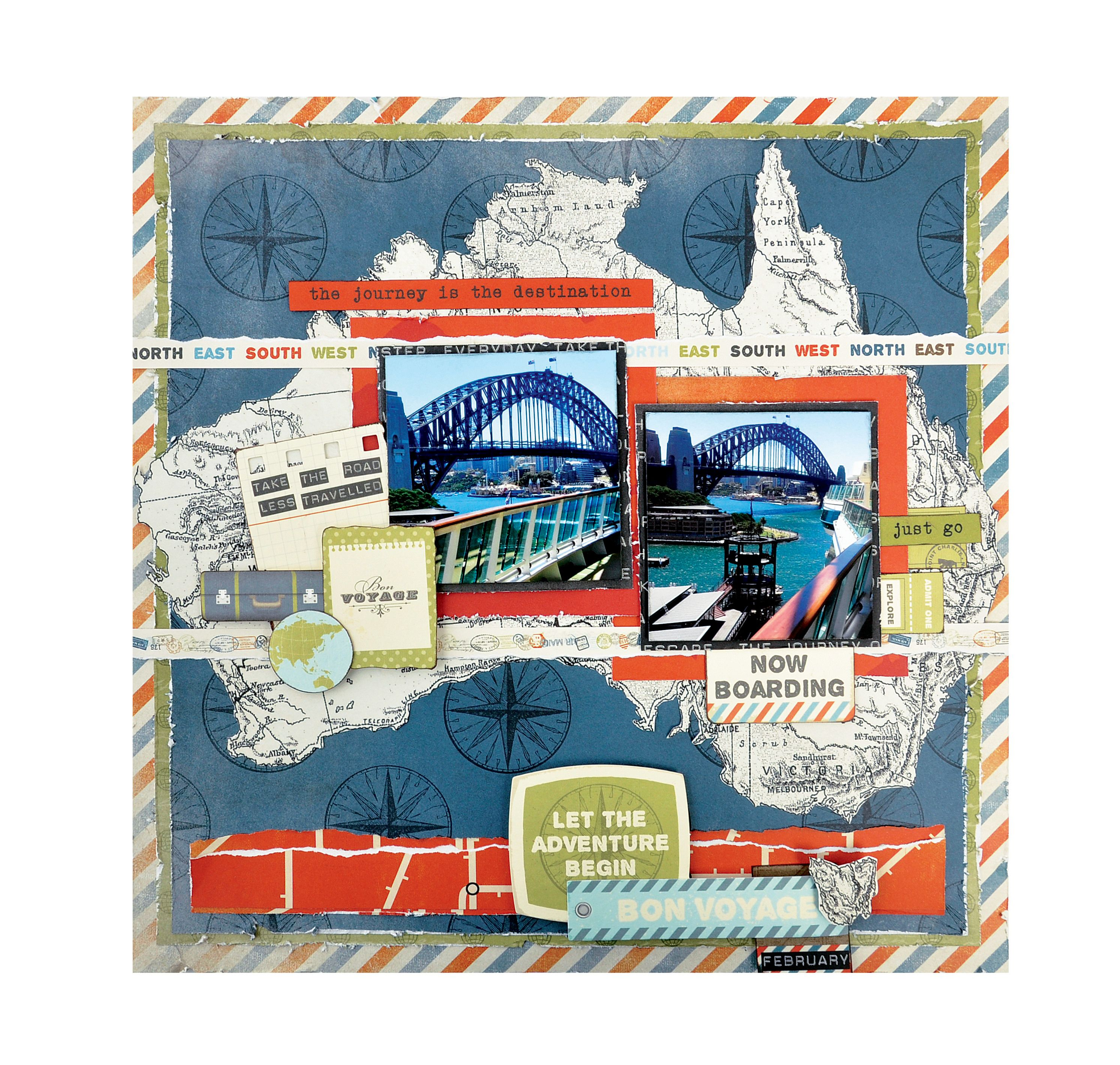 How to scrapbook a road trip -  Papercrafting Scrapbook Layout Bon Voyage Kaisercraft Wanderlust Collection