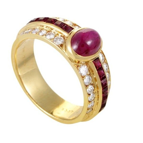 5e3df2dd0c566 Pre-owned Van Cleef   Arpels 18K Yellow Gold Diamond and Ruby Ring...  ( 6