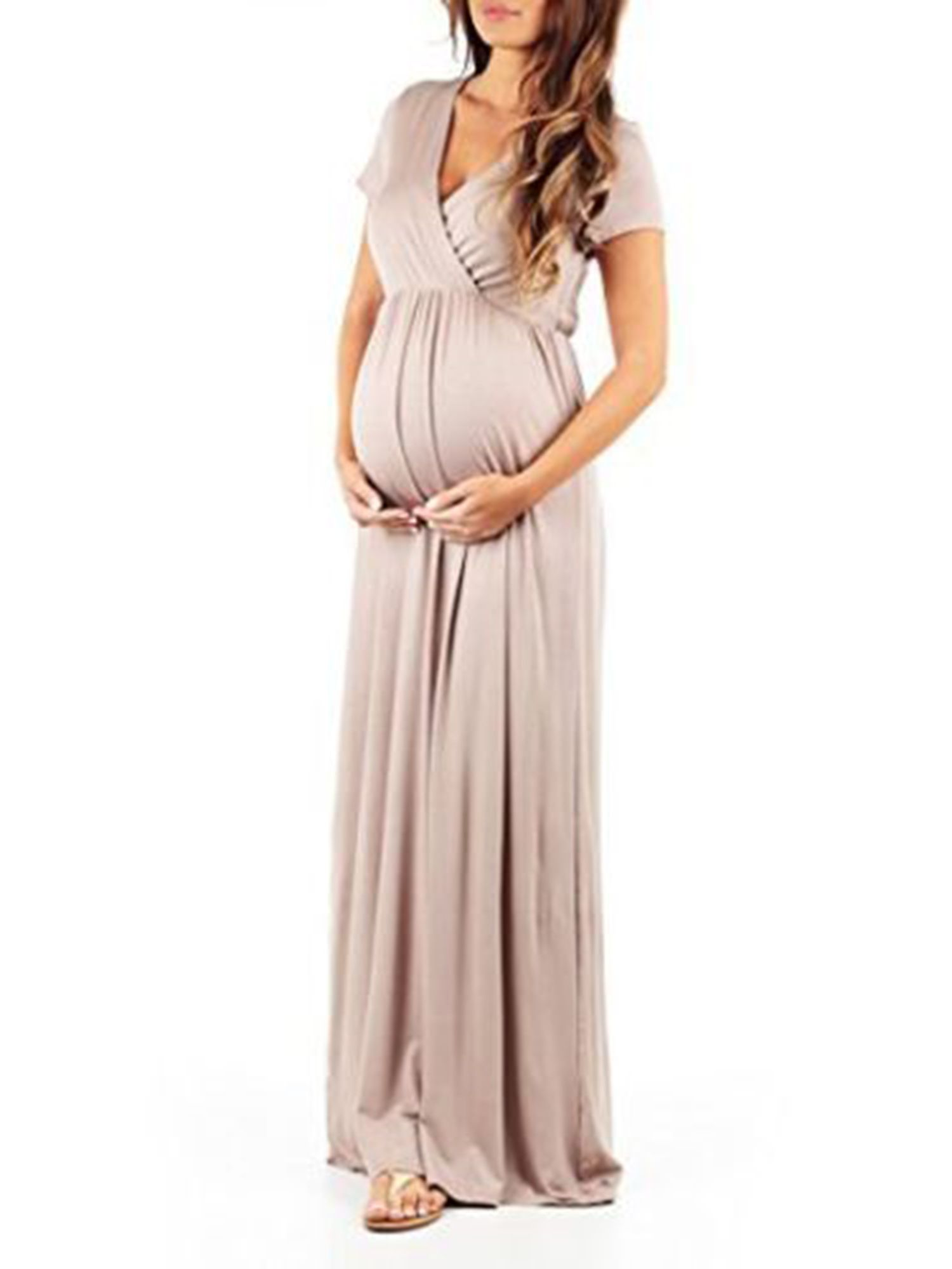 b5814993685afb V neck Maternity Dress for Women Photography Prop Short Sleeve Long Maxi  Summer Casual Loose Full-Length Pregnant Dress#Prop, #Photography, #Sleeve