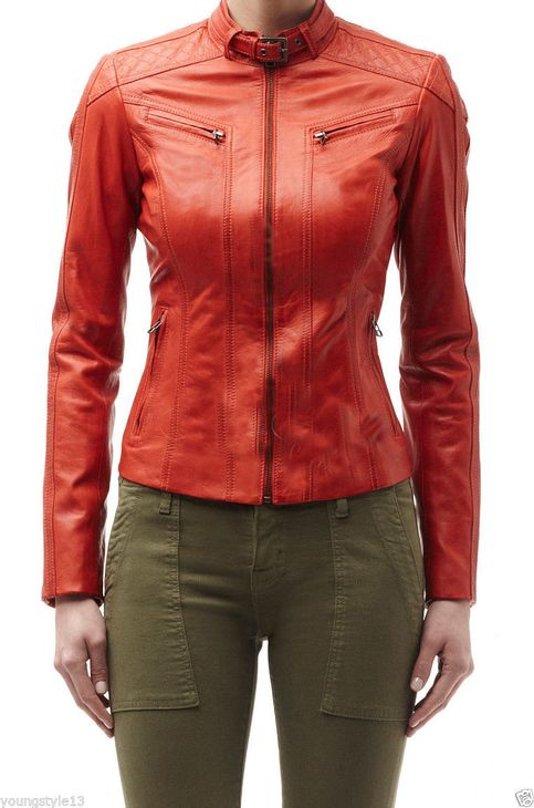 Orange Women's Biker Leather Jacket Quilted Belted Tab Collar Fastening Zipper Trendy Fashion