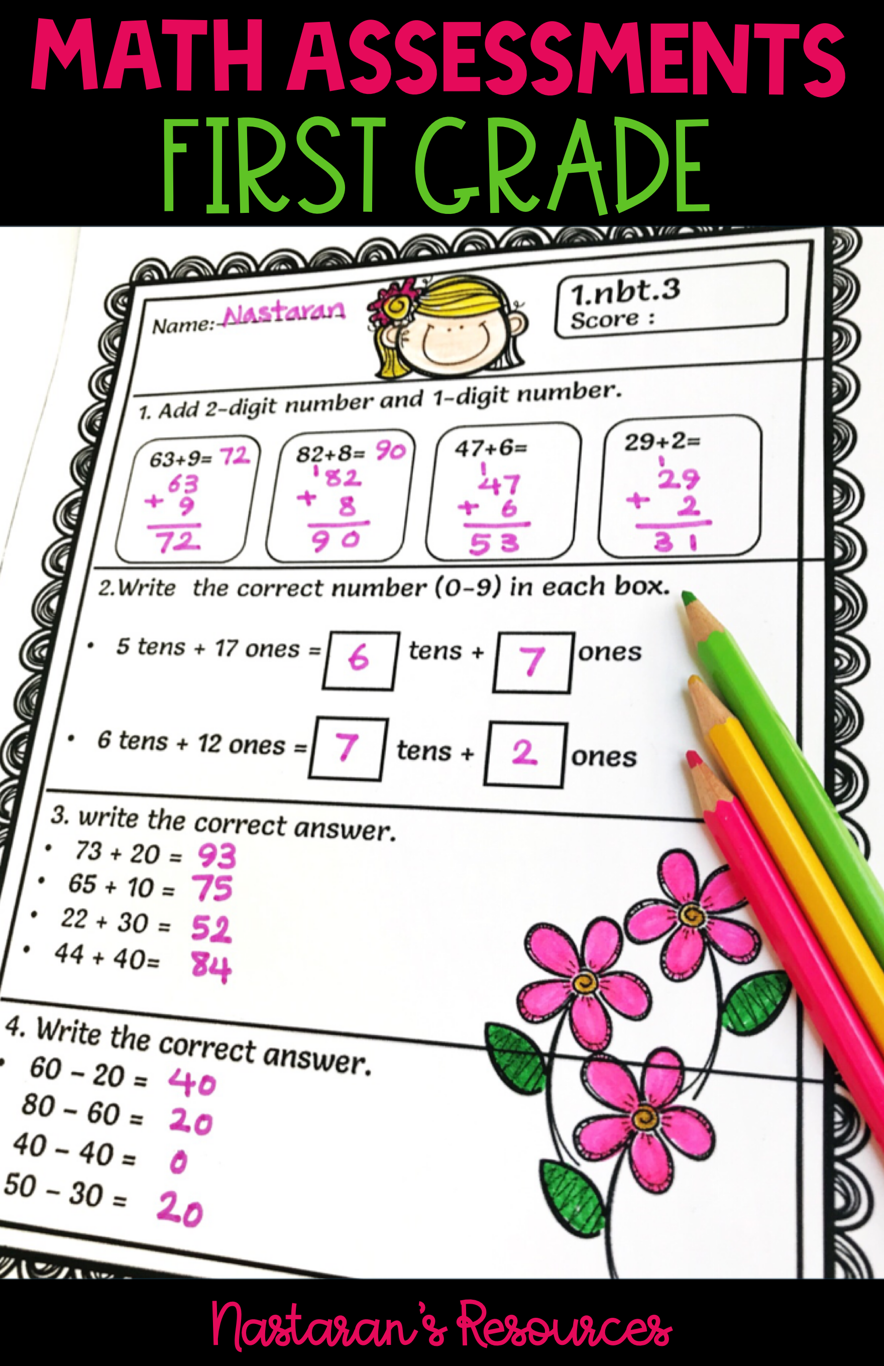 1st Grade Math Assessments With Images