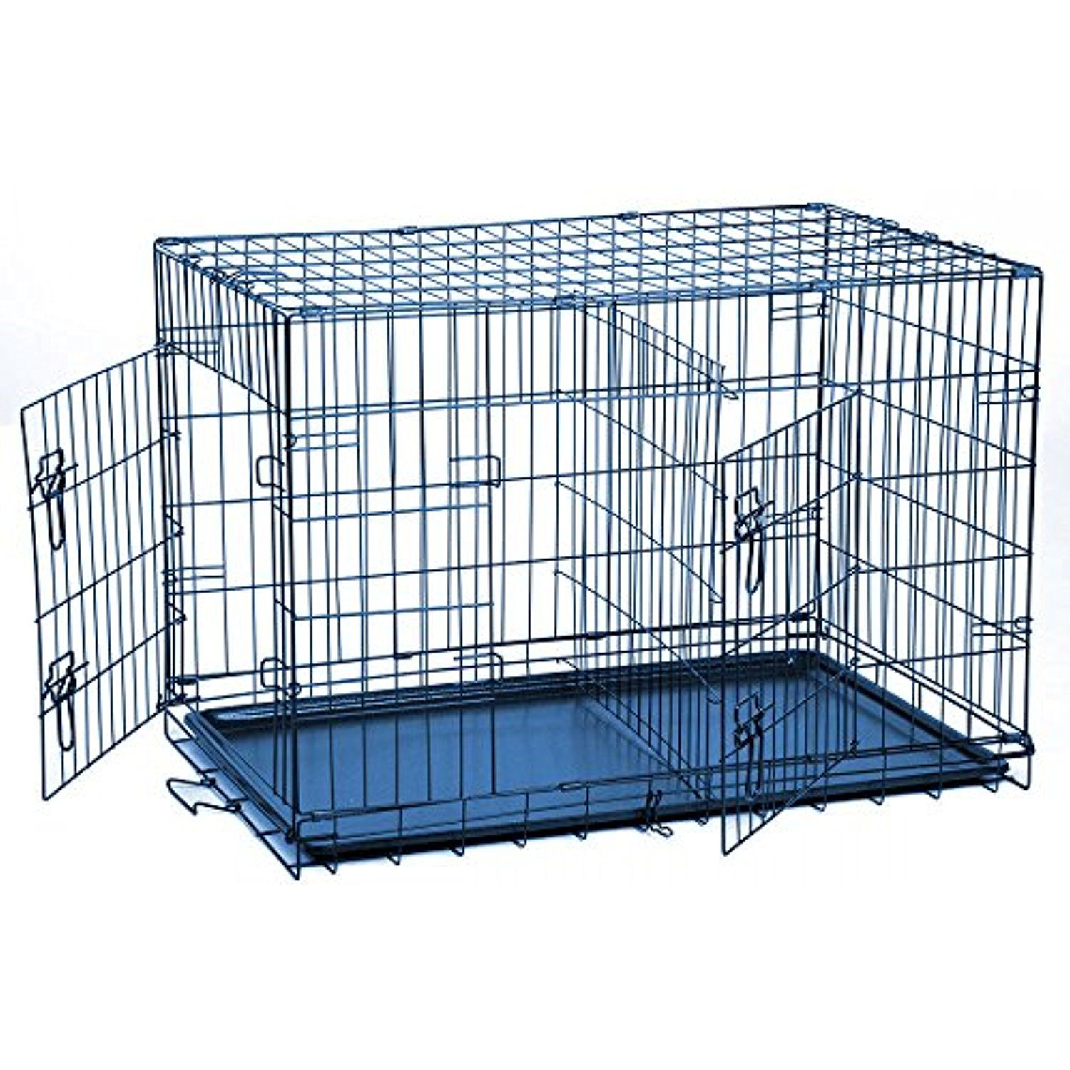 Levpet Metal Folding Cage Pet Cat Dog Double Door 2 Doors Kennel Dog ...