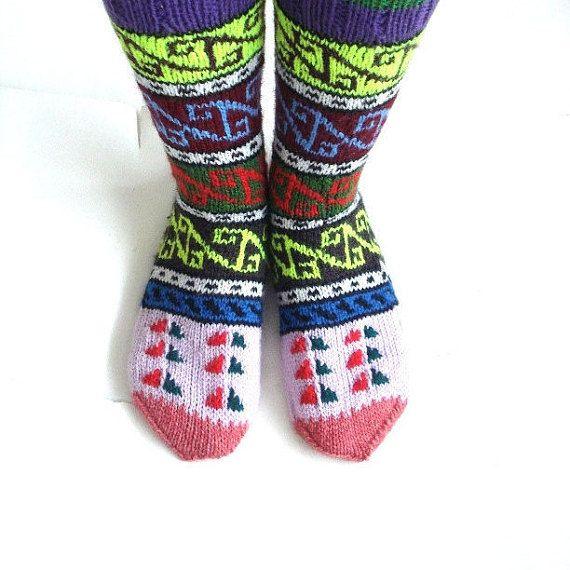 mano tejer calcetines, alta rodilla - zapatillas calcetines de punto ...
