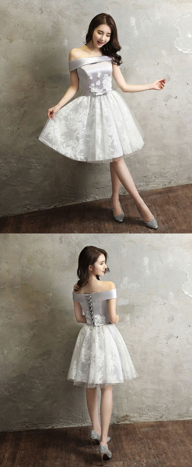Gray tull lace off shoulder short prom dress homecoming dress