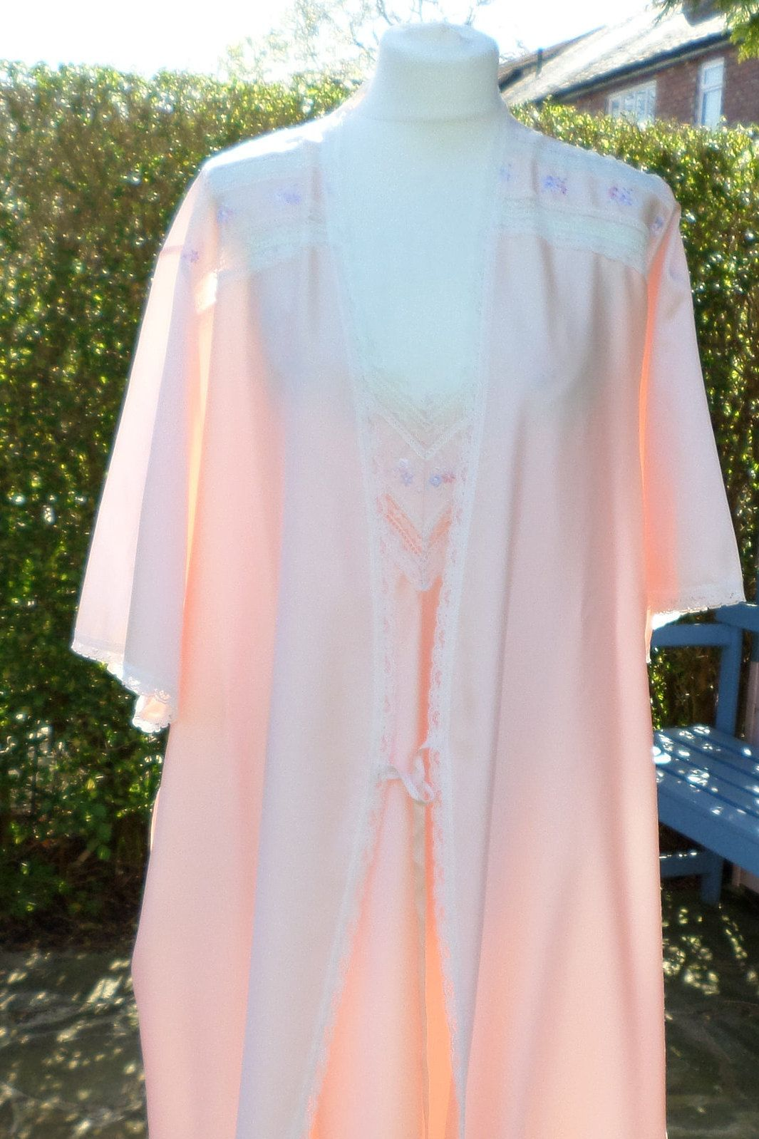 St Michael dressing gown & nightie matching set colour Peach size UK ...