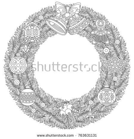 Coloring Page With Christmas Wreath Holiday Ornaments Jingle Bells
